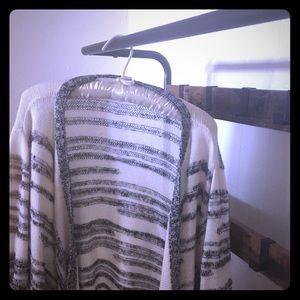 Ivory/Cream and Grey Striped Soft Cardigan Sweater